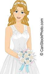 花嫁, 女の子, 浜 結婚式