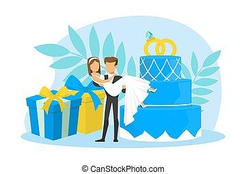花嫁, 平ら, 地位, 手, 結婚式の カップル, イラスト, 巨大, ベクトル, パーティー, 新婚者, 贈り物, ごく小さい, 箱, 保有物, ∥(彼・それ)ら∥, 花婿, ∥横に∥, 彼の, ケーキ