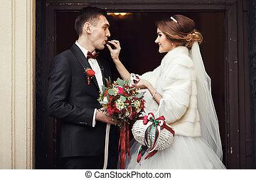 花嫁, 弾力性, a, 婚約者, a, チョコレート, 前部, の, ∥, church's, ドア