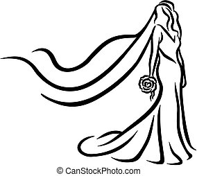 花嫁, 抽象的, caligraphy