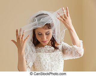 花嫁, 白, ベール, 幸せ