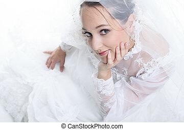 花嫁, 白, 古い, スタジオ, 背景