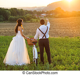 花嫁, 白, 花婿, 自転車, 結婚式