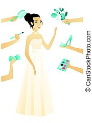 花嫁, 白, dress., 若い, アジア人