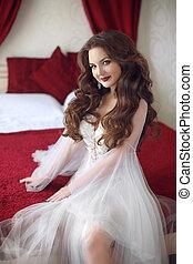 花嫁, 結婚式肖像画, ∥で∥, 巻き毛の髪, スタイル, 赤い唇, 構造