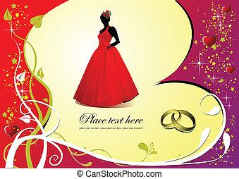花嫁, 結婚式, カード, 招待