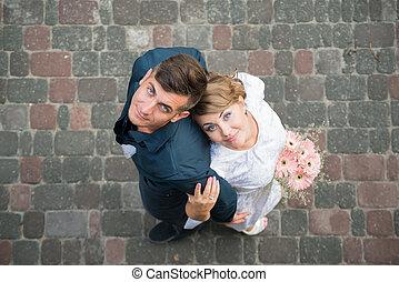 花嫁, 結婚式, 花婿, 幸せ, 歩きなさい