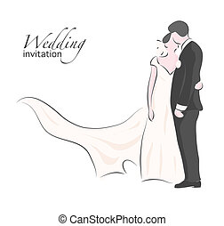 花嫁, 結婚式, 花婿, 接吻