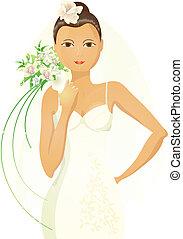 花嫁, 美しい, アジア人