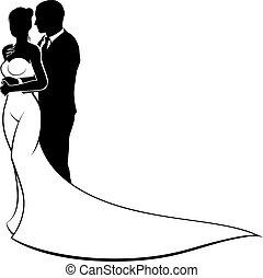 花嫁, 花婿, シルエット, 結婚式