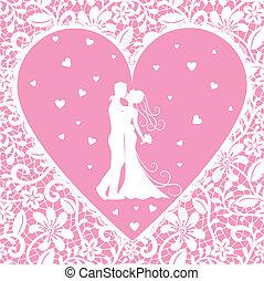 花嫁, 花婿, レース, 背景, 接吻