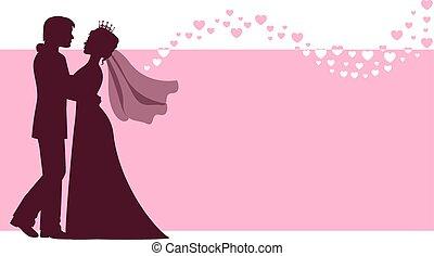 花嫁, 花婿, 背中, 結婚式