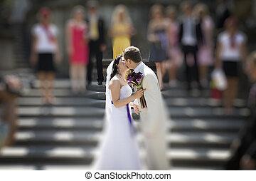 花嫁, 花婿, 階段, 宮殿, 接吻