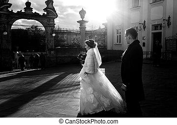 花嫁, 行く, ∥に向かって∥, ∥, 教会, 門, 中に, ∥, 光線, の, 日光