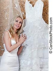 花嫁, tries, 幸せ, 服, 結婚式