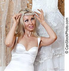 花嫁, tries, 結婚式 服, 幸せ