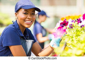 花屋, 託児所, 女性, 仕事, アフリカ
