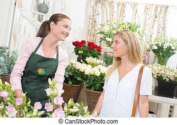 花屋, 顧客, 給仕