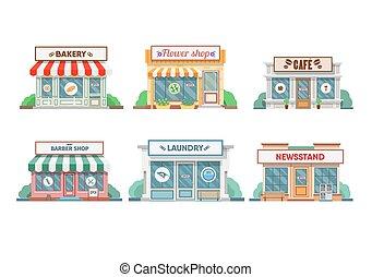 花屋, town., パン屋, , 洗濯物, 理髪師, 新聞売り場, ファサド, カフェ