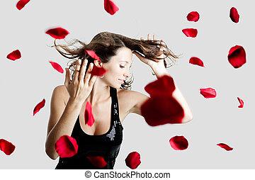 花弁, バラ, 女