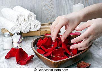 花弁, 付属品, 準備, ばら, プロシージャ, 手, エステ, 白い赤