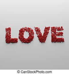 花弁, 作られた, 愛, 赤は 上がった