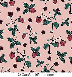 花木型, seamless, 優しい, strawberry., 野生