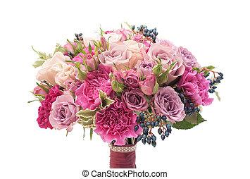 花束, すみれ, 隔離された, カラフルである, 結婚式