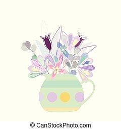 花束, つぼ, ポルカ, 多彩, 明るい, 花, 点