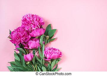 花束, の, ピンク, シャクヤク, 花, ∥ように∥, フレーム, 上に, パステル, pink., コピースペース, ∥ために∥, text., 上, ビュー。, 平ら, lay.