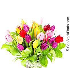花束, の, 新たに, カラフルである, チューリップ, 花