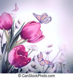 花束, の, 赤, チューリップ, に対して, a, 暗い背景, そして, 蝶