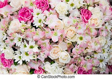 花束, ばら色 薮, asiaticus, ranunculus, 背景, 結婚式