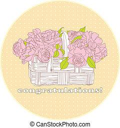 花束, ばら, カード
