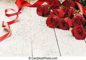 花束, ばら, グランジ, 赤い背景