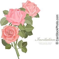 花束, ばら, 招待, あなたの, カード, design.