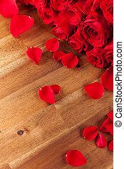 花束, ばら, 木製の机