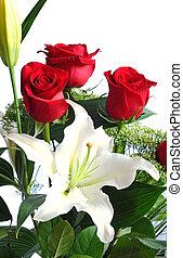 花束, ばら, 白いユリ, 赤