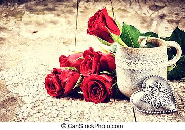 花束, ばら, 設定, 赤, バレンタイン