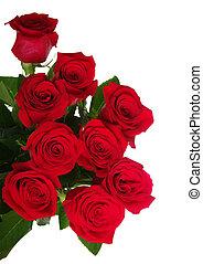 花束, ばら, 赤