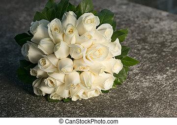 花束, ばら, bridal, 白い結婚式
