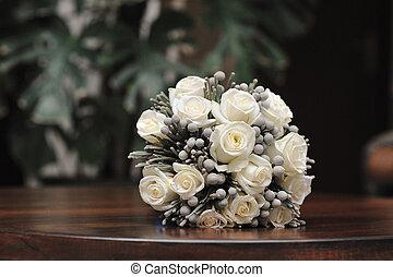 花束, ばら, bridal, 白