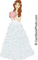 花束, ガウン, 女の子, bridal, ひだ飾り
