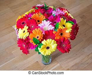花束, ガラス つぼ, gerbera デイジー