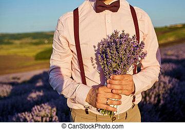 花束, クローズアップ, 手入れをしなさい。, ラベンダー, 手