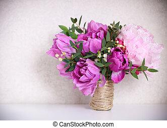 花束, シャクヤク, ピンク, 結婚式