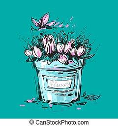 花束, チューリップ, バケツ, 空想, デザイン, あなた
