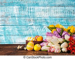 花束, チューリップ, 卵, イースター, 有色人種