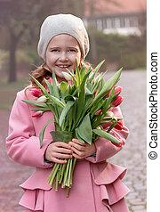 花束, チューリップ, 女の子
