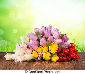花束, チューリップ, 有色人種